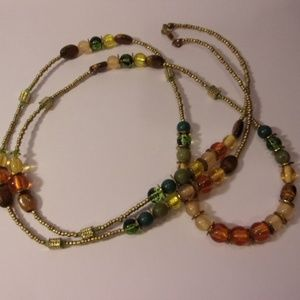 "Multi Color Glass Bead Necklace 44"" Long"